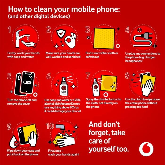 steps for how how to clean your mobile phone
