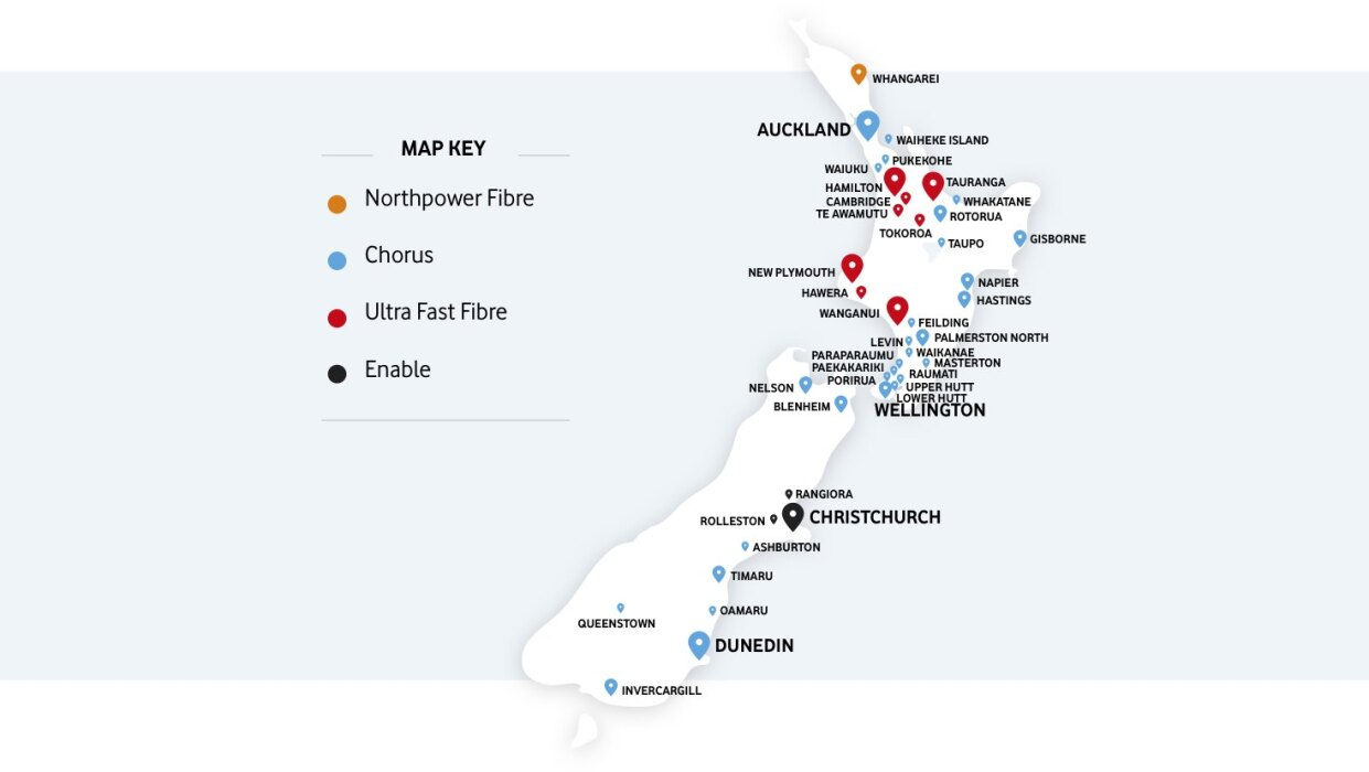 Map of New Zealand showing fibre install partner locations