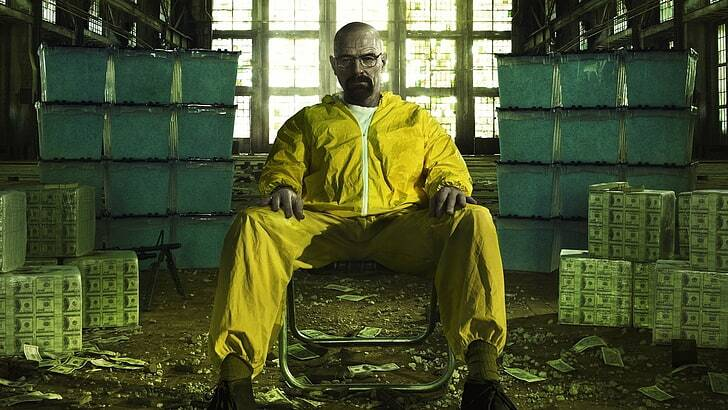 breaking bad poster - walter white in hazmat suit surrounded by money
