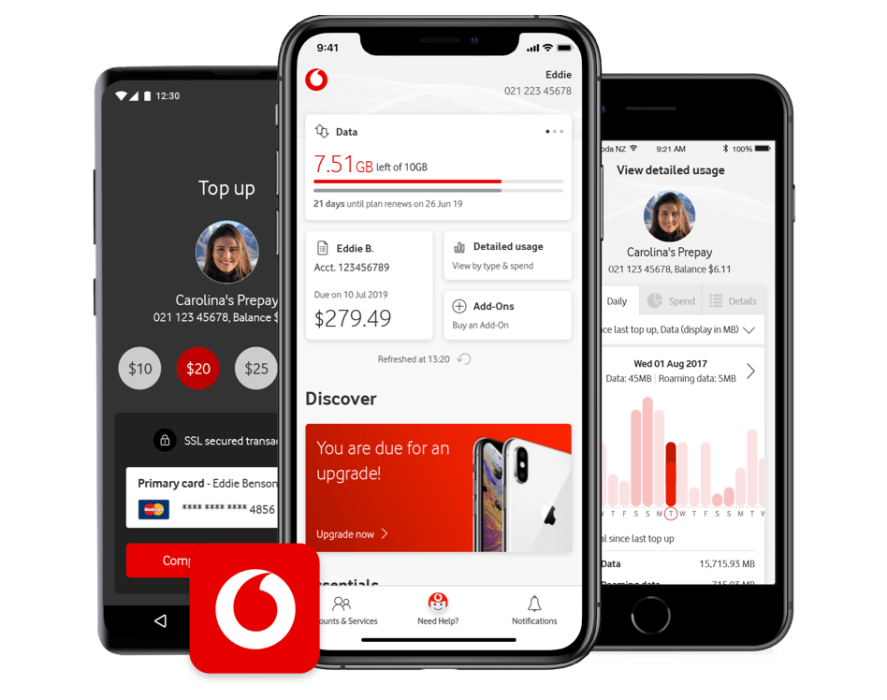 Three mobile phones displaying the My Vodafone apps's Top up, Dashboard and usage screens