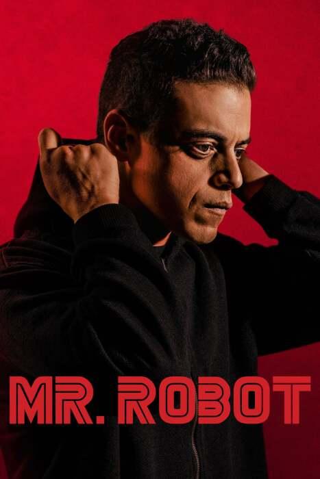 mr robot poster - rami malek on red background