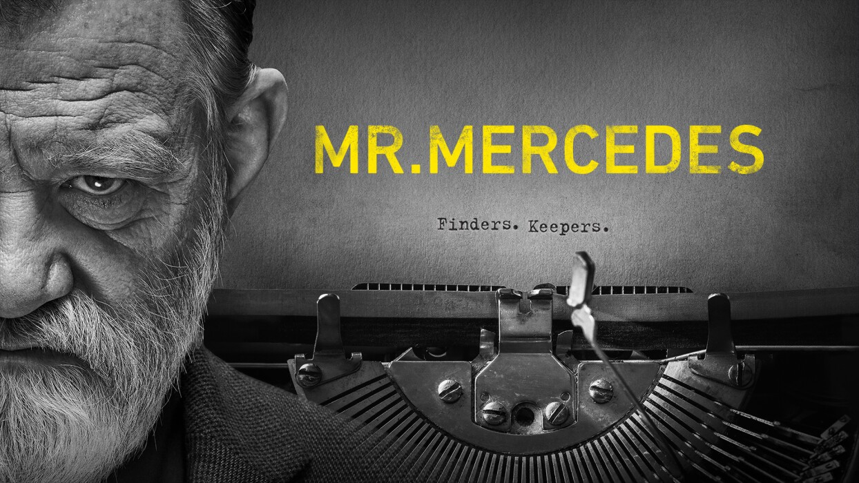 mr mercedes TV show poster - brendan gleeson with typewriter