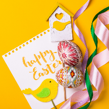 happy easter card with bird, egg and ribbons