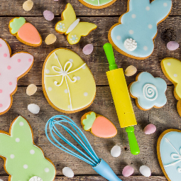 easter sugar cookies with baking utensils
